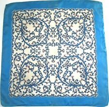 Liberty - Blue border loral print vintage silk scarf - Small