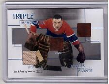 JACQUES PLANTE 03/04 ITG Triple Memorabilia Jersey Leather Glove Patch Pad SP
