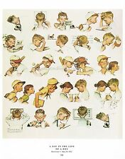 "Norman Rockwell print: ""A DAY IN THE LIFE OF A LITTLE BOY"" 11x15"" Busy Young Man"