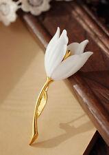 Broche Doré Fleur Tulipe Blanc Artisanal Retro XZ 3