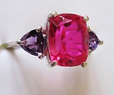 Rubellite Quartz & Amethyst Ring in Sterling Silver sz 9 --  4.53 cts