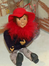 BYERS CHOICE Kiindle Red Hat Woman Mary Agnes Wayside Country Store Exclusive