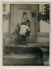 MÄDCHEN m GROSSEM TEDDYBÄR / GIRL w BIG TEDDY BEAR * Vintage 30s Amateur Photo