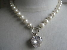 10 mm  PEARL & CRYSTAL HEART DROP NECKLACE ADJUSTABLE LENGTH