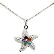 Starfish Asteroidea Sea Ocean Pendant Necklace Charm Austrian Crystal Multicolor