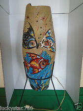 1950's Vintage Mexico Art Deco Fish Scene  Hand Crafted Hand Painted Table Lamp