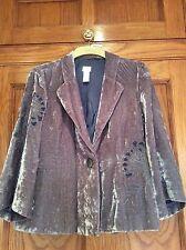 Velvet evening jacket coat size 12 (US 10) Mauve Grey purple applique - J Jill