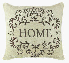"Home 18"" Cream & Brown Chenille Cushion Cover Vintage Style"