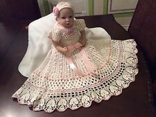 Crochet Christening Gown Pattern For Yoked Interchangeable Flower Christening Go