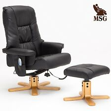 Massage Leisure Recliner Chair Swivel w/Ottoman Real Leather Armchair in Black