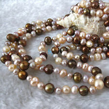 """50"""" 5-8mm Pink Lavender Coffee Multicolor Freshwater Pearl Necklace"""