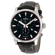 Mido Multifort Chronograph Black Dial Black Leather Mens Watch M0054171605120