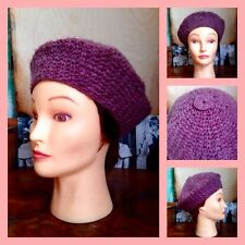Vintage 60's 70's Hand Knitted Dusky Purple Beret Hat M Mod GoGo