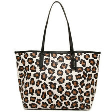 BNEW  COACH Ocelot Print City Tote in Chalk & Multicolor Brown Black