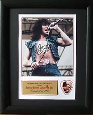 Bon Scott AC/DC Preprinted Autograph & Guitar Pick Display Mounted & Framed #2
