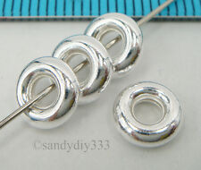 6x STERLING SILVER BUBBLE RING RONDELLE ROUND JUMPRING 7mm 2.4mm BEAD #2025