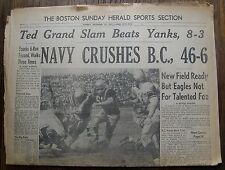 Ted Williams Grand Slam NAVY-B.C. FB; Sept 22, 1957 Boston Herald Sports Section