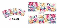 Nail Art Water Decals Stickers Transfers Wraps Pretty Pink Flowers Floral (BN64)