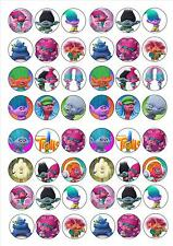TROLLS EDIBLE WAFER RICE PAPER BIRTHDAY PARTY FAIRY CUPCAKE CAKE TOPPERS x 48