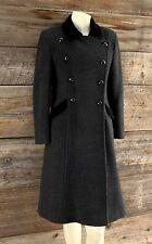 Christian Dior Dark Gray Wool Coat w Velvet Trim Size 14