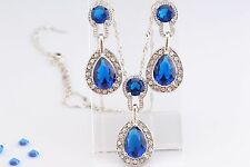 Teardrop Necklace Earrings SET Sapphire Blue Swarovski Crystal Elements Luxury
