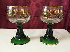 Pair of Vintage Luminarc Made in France Green Stemmed Gold Gilted Wine Glasses
