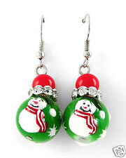 Christmas Theme Earrings Green Red White Enamel & Crystal Snowman Ornament