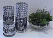 Black Silver 3 piece bling rhinestone Custom candle holder wedding centerpiece