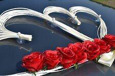 wedding car decoration,ribbon, bows, prom limousine decoration, HEARTS red roses