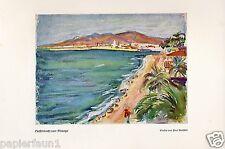 Hafenbucht von Malaga Kunstdruck von 1938 Paeschke Bucht Strand Spanien print