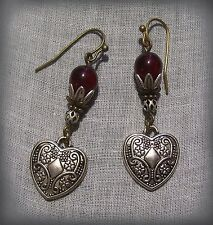 SILVER BRONZE HEART FILIGREE GARNET RED GLASS EARRINGS RENAISSANCE CARNIVAL RUBY
