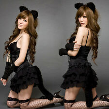 Sexy Cat Suit Lingerie Girl Cosplay Costume Clubwear Dress Headbang 1Sets New