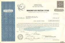 Management Data Processing Systems 1960s 1970s New Jersey stock certificate