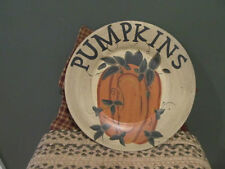 **Primitive Country Rustic Hand Painted Wooden Pumpkin Plate!!**
