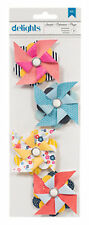SEASIDE DELIGHTS (4) PINWHEELS scrapbooking CHIPBOARD CARDSTOCK FAUX PEARL