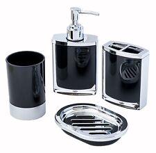 JustNile 4-Piece Bathroom Accessory Set - Vogue Opaque Black