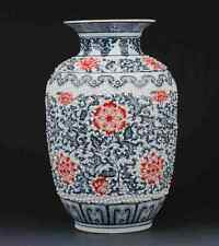 Chinese Blue and white porcelain Hand-painted safflower Vase W Qianlong Mark