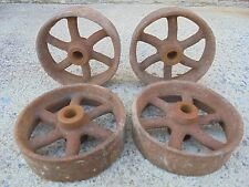 Set of 4 Antique Cast Iron Factory Salvaged Cart Coffee Table Furniture Wheels