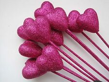 Floral Picks HOT PINK GLITTER HEARTS for Valentines,Mother's Day, Sweet 16 !