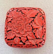 Chinese Handmade Carved Lacquerware Jewelry Box, Cinnabar Color
