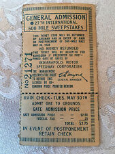 1939 INDY 500 TICKET STUB. GENERAL ADMISSION. NICE.  27th INDIANAPOLIS 500 RACE.