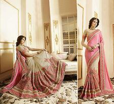 Bollywood Indian Party Wear Beige Pink Saree Sari Bridal Wedding Pakistani Saree