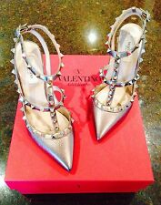 Valentino Garavani Metallic Pewter Bronze Rockstud shoes, pumps heels  37.5  6