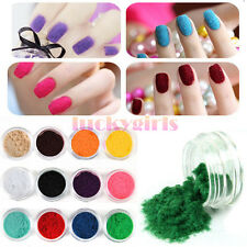 12 Colors Nail Art 3D Velvet Flocking Snow Powder Dust Kit Decoration DIY Tip
