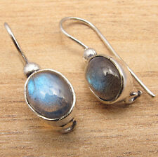 HANDMADE JEWELRY EARRINGS , Natural Fire LABRADORITE Gems ! 925 Silver Plated