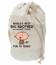 Worlds Best Big Brother 75th Birthday Present Duffle Bag - Gifts For Him