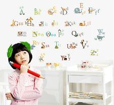 Abc Alfabeto animales pegatinas de pared calcomanías Niño Niña Kids Infantil Hogar Arte Decoración