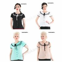 VOODOO VIXEN ROCKABILLY 50S VINTAGE SOFT SHIRT SAILOR TOP TPA1660 FOUR COLOURS