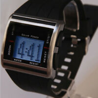 Fashion Mens Solar Power Scrolling Display Digital Waterproof Sport Wrist Watch