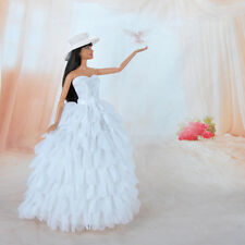 Handmade Dolls Clothes Wedding Dress White Lace Party Gown for Barbie Doll S